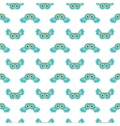 Owlet turquoise seamless pattern vector