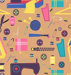 Sewing related elements seamless color pattern vector