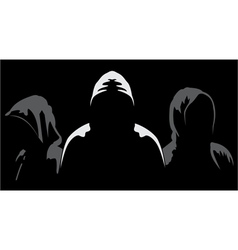 Silhouettes of three anonymous vector
