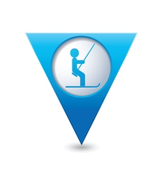 Ski lift icon on blue triangular map pointer vector