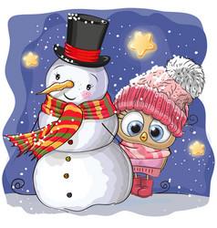 snowman and cute cartoon owl girl vector image