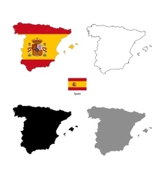 Spain country black silhouette and with flag on vector image