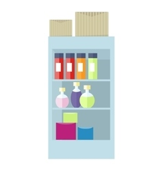 Supermarket interior cosmetic accessories boxes vector