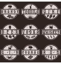 Vintage grunge labels set of alcohol drinks vector
