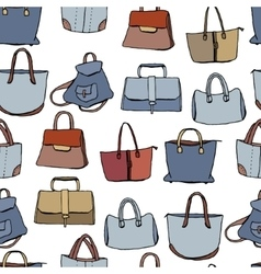 Woman bags seamless pattern blue and brown color vector