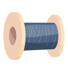 Wooden coil with blue threads icon cartoon style vector