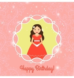 Happy Birthday card template with princess vector image