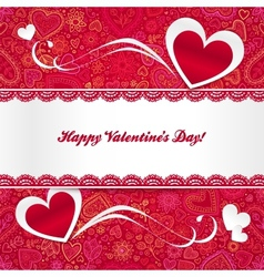 Valentines day greeting card with hearts vector image