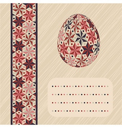 Easter card with patterned egg and border vector