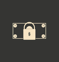 flat in black and white money lock vector image