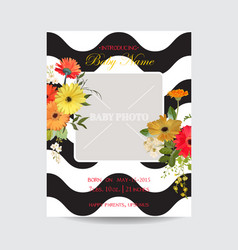 Baby arrival summer and spring floral card vector