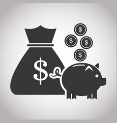 Bag money piggy coins currency banking pictogram vector