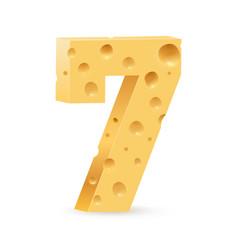 Number seven on white for design vector