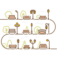 Linear abstract street with park elements forest vector