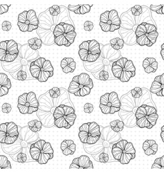 seamless pattern with doodle outlined flowers vector image