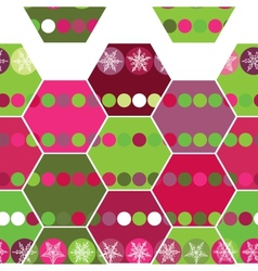 Festive seamless pattern hexagon and christmas vector