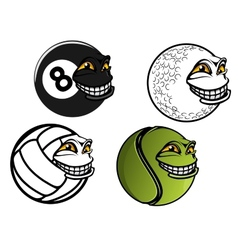 Tennis golf volleyball billiard cartoon balls vector