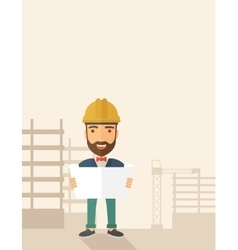 Construction worker holding the plan vector