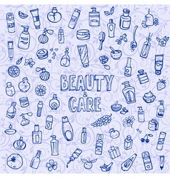 Doodle cosmetics and self-care icons vector
