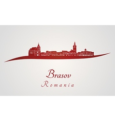Brasov skyline in red vector