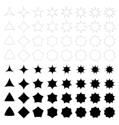 Curved star silhouette collection vector