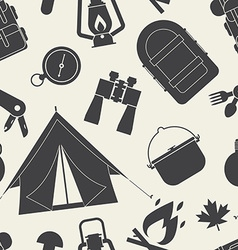 Camping and hiking seamless pattern vector