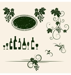 Grape vines element set vector image