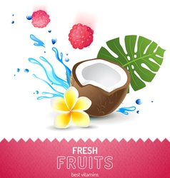 background with fresh fruits vector image