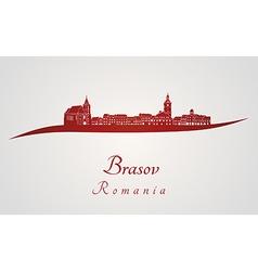 Brasov skyline in red vector