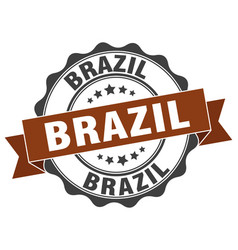 Brazil round ribbon seal vector