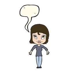Cartoon girl shrugging shoulders with speech vector