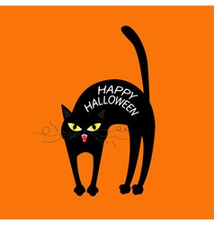 Cat arch back Happy Halloween greeting card Yellow vector image