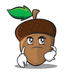 confused acorn cartoon character style vector image vector image