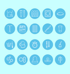 Contraceptive methods line icon birth control vector