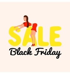 Cute and happy girl on sale black friday in a vector