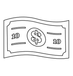 dollar bill icon outline style vector image