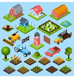 Farm isometric icons set vector image