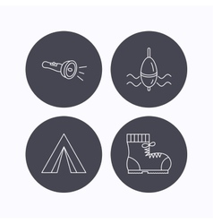 Flashlight fishing float and hiking boots vector image
