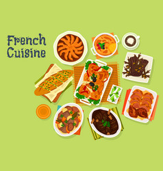 French cuisine festive dinner menu icon design vector