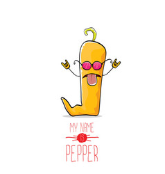 funny cartoon orange pepper character vector image vector image