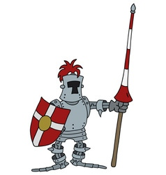 Funny knight with a lance vector