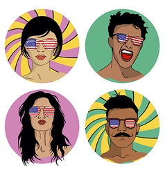 Girls and boys in sunglasses with us flag vector