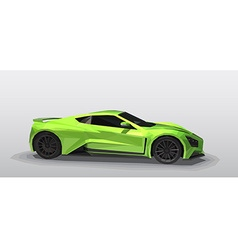 Green sport car - polygonal style vector