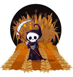 Grim reaper on corn maze vector
