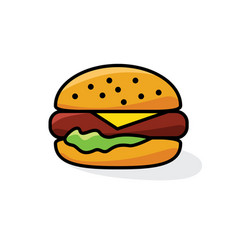 Hamburger with cheese and lettuce vector