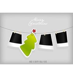 Hanging christmas tree badge and photographs art vector