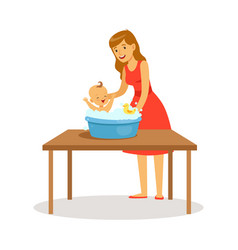 Happy mother in red dress washing little baby kid vector