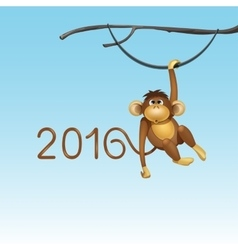 Happy New Year of Chinese Monkey Christmas Card vector image