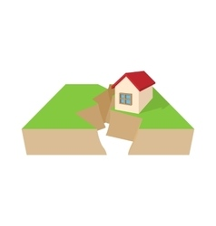 House after an earthquake icon cartoon style vector