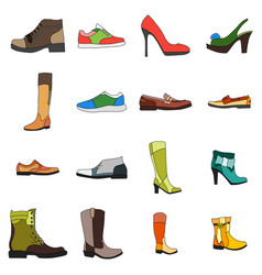 Icons footwear men and women shoes in flat style vector
